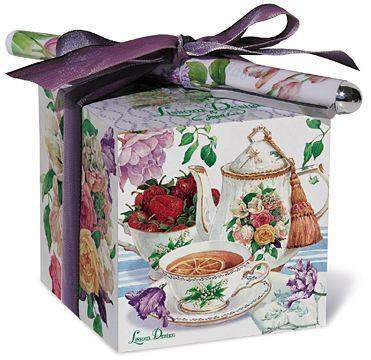 Tea Rose Cottage Paper Note Block and Pen - Roses And Teacups
