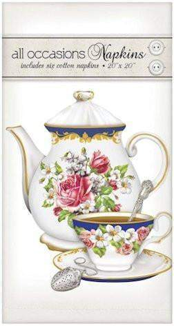 Tea Set 6 Cotton 20x20 Napkins - Roses And Teacups