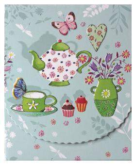Tea Set Purse Pad Stationery - Available for Shipping in October - Roses And Teacups