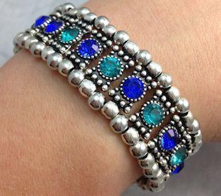 Teal and Blue Crystal Stretch Bracelet - Roses And Teacups