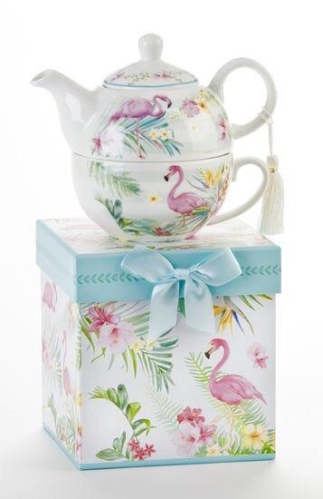 Tropical Flamingo Porcelain Tea For One With Matching Gift Box - Roses And Teacups