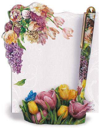 Tulip Notepad and Pen Holder Set - Roses And Teacups
