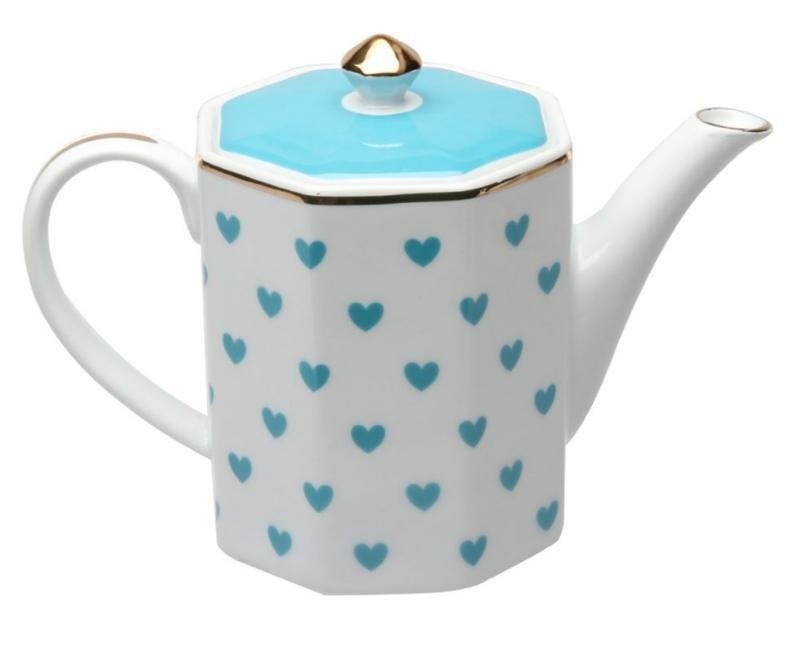 Turquoise Heart Porcelain Teapot - 1 Available - Roses And Teacups