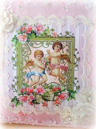 Twin Cherubs  Crystal Roses  Victorian Pillow - Roses And Teacups