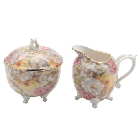 Victorian Cream Rose Ramble Footed Cream and Sugar Set - Roses And Teacups
