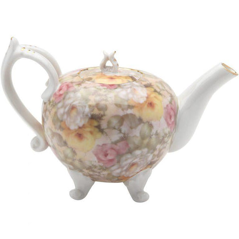 Victorian Cream Rose Ramble Footed Teapot - Roses And Teacups