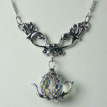 "Victorian Dangle Necklace 19.5"" with Teapot Charms 13 Styles - Roses And Teacups"