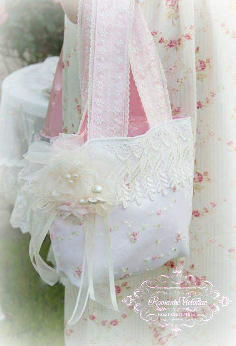 Victorian Ivory Lace Handbag - Roses And Teacups