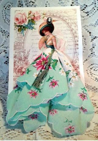 Victorian Lady with Fan Any Occasion Hankie Card - Limited Supply - Roses And Teacups