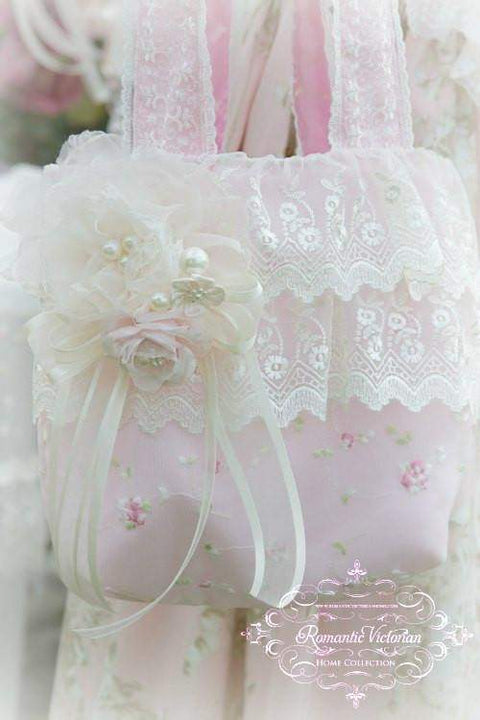 Victorian Pink ruffled Lace Handbag - Roses And Teacups