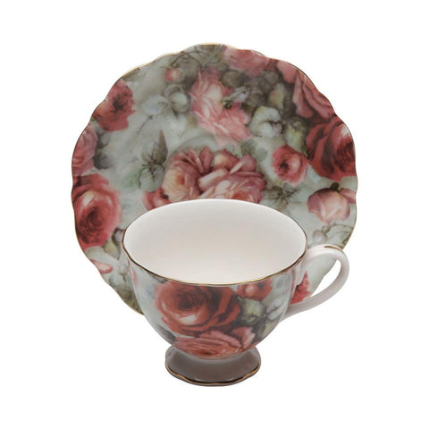 Victorian Ramble Rose Porcelain Tea Cup and Saucer Set of 4-Roses And Teacups