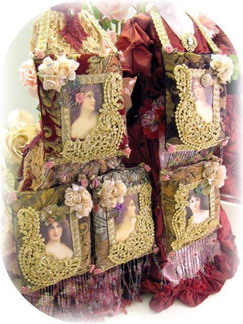Victorian Splendor Sachets Burgundy - Roses And Teacups