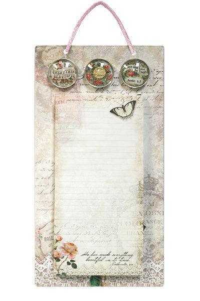 Vintage Pink Rose Magnetic List Pad with Metal Sign and Magnets - Roses And Teacups