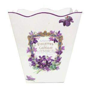 "Violets French Vintage Look Wastebasket 12"" x10"" x10"" - Roses And Teacups"