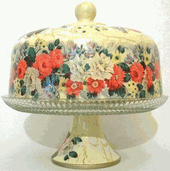 White and Red Rose Glass Domed Pedestal Cake Stand - Roses And Teacups
