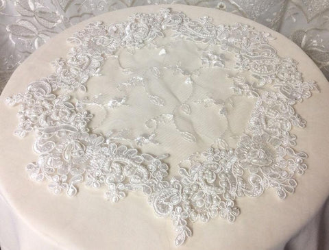 White Beaded Lace Doily - Roses And Teacups