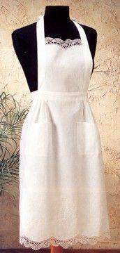 White Embroidered Cluny Lace Cotton Apron - Roses And Teacups
