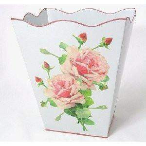 "White French Vintage Look Wastebasket 12"" x10"" x10"" - Roses And Teacups"