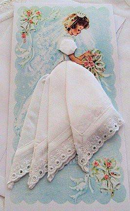 White Lace Hankie Card #BP1004 - Roses And Teacups