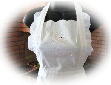 White Open Embroidery Floral Ruffle Apron - Only 1 Available!-Roses And Teacups