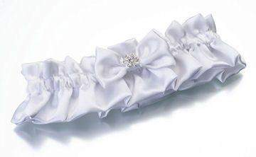 White Rhinestone Flower Garter - Roses And Teacups