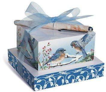 Winter Bluebird Stacked Notepads - Roses And Teacups