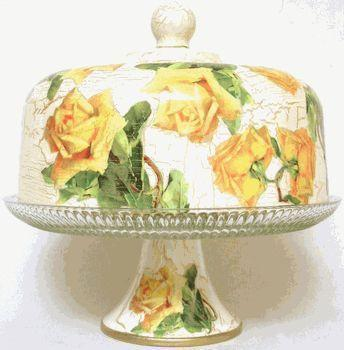 Yellow Rose Hand Decorated Domed Pedestal Cake Plate - Roses And Teacups
