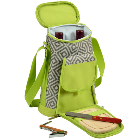 Diamond Granite 2-Bottle Carrier with Cheese Set