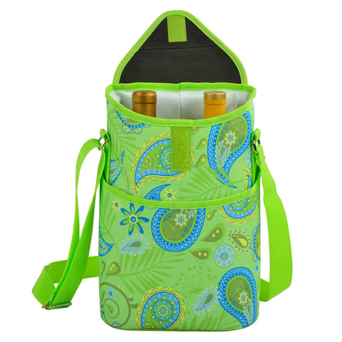 Paisley Green Two Bottle Wine Tote