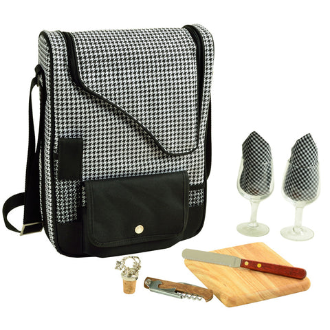 Houndstooth Bordeaux Wine & Cheese Carrier