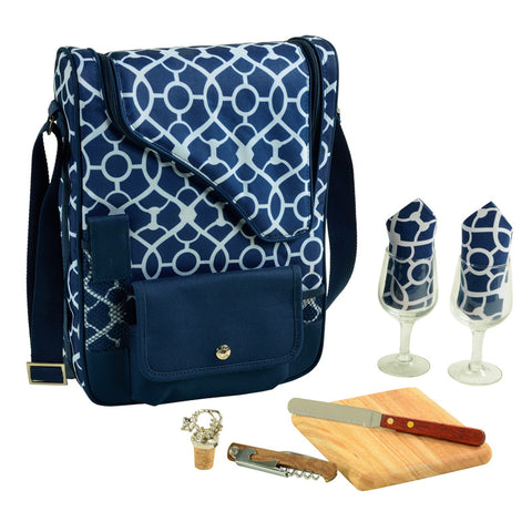 Trellis Blue Bordeaux Wine & Cheese Carrier