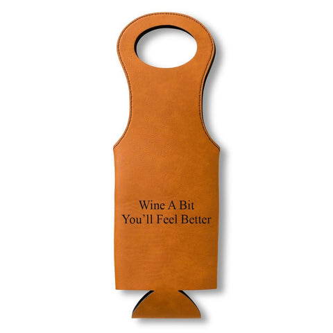 Leatherette Wine Tote - Personalized
