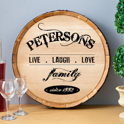 Live Laugh Love Wine Barrel Wall Art