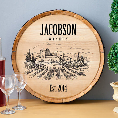 Vineyard Wine Barrel Wall Art Sign