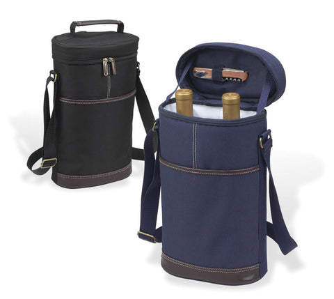 Two Bottle Wine Carrier - Blue