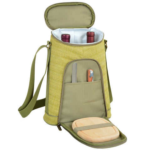 Hamptons Two Bottle Wine Tote with Cheese Set