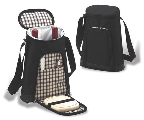 London Two Bottle Wine Carrier with Cheese Set