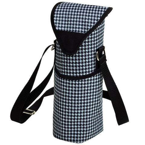 Houndstooth Single Bottle Wine Tote