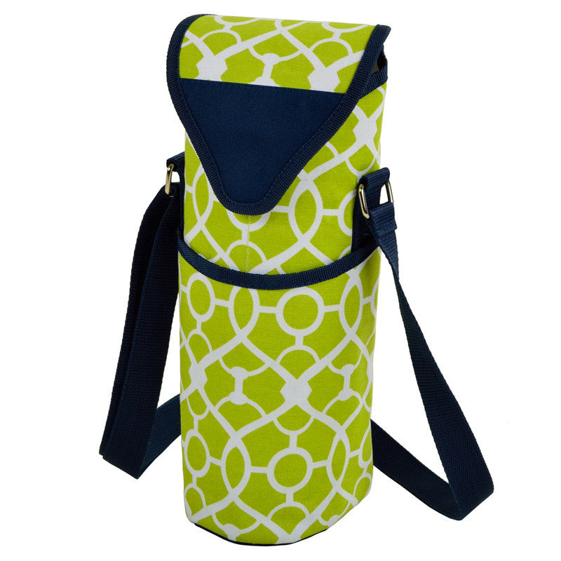 Trellis Green Single Bottle Wine Tote