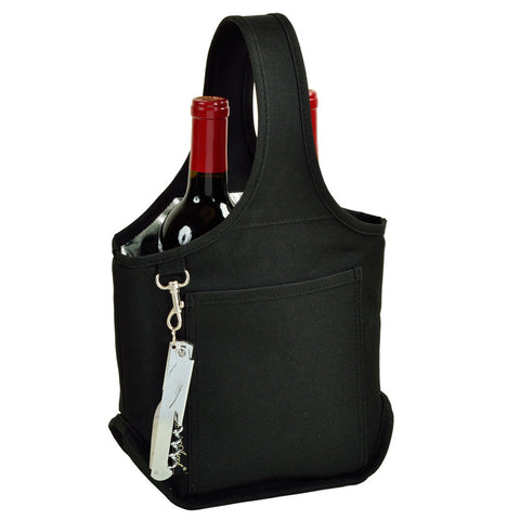 Black Open Two Bottle Wine Carrier