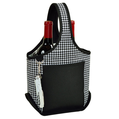 Houndstooth Open Two Bottle Wine Carrier