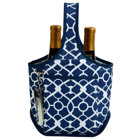 Trellis Blue Open Two Bottle Wine Carrier