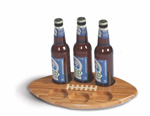 Football shaped beer bottle or glass flight