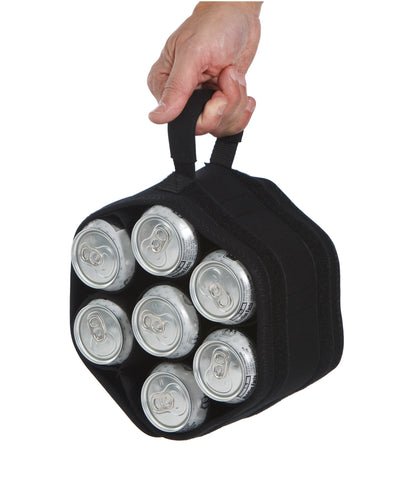 Unique roll up neoprene 7 bottle, can carrier with detachable koozies