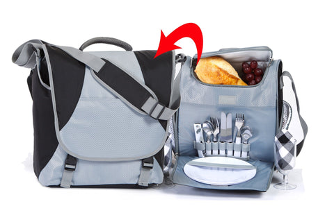 2 Person messenger bag style 2 in 1 picnic set