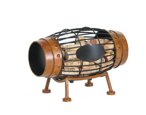 Large Wine Barrel Cork Caddy displays and stores wine corks