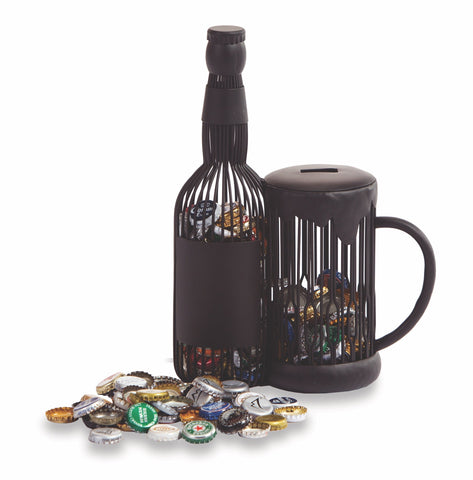 Beer Mug and Bottle Cap Caddy displays and stores bottle caps