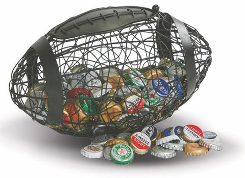 Football Cap Caddy displays and stores bottle caps
