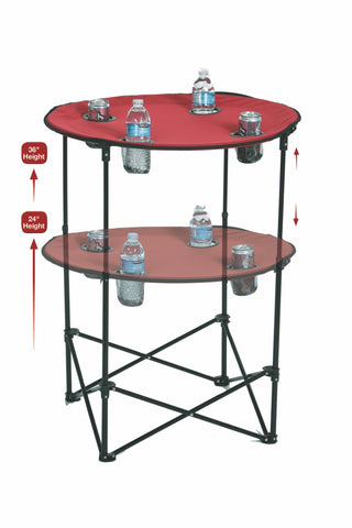 "Portable round tailgate table extends from 24"" to 36"""