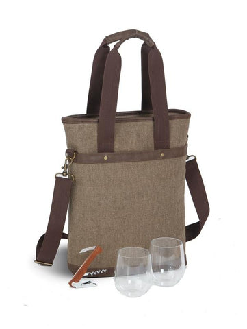 Omega Double Wine Bottle Bag - Brown